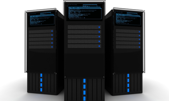 The Datacenter. Three Black Servers 3D Render on the White Background. Hosting - Datacenter Illustration.